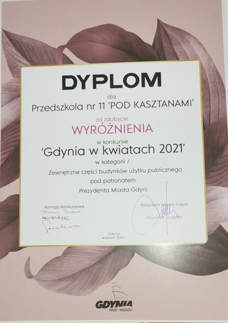 Nagrody w konkursie ''Gdynia w kwiatach 2021''